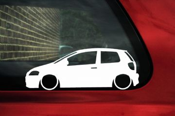 2x Low car outline stickers - for Volkswagen VW FOX